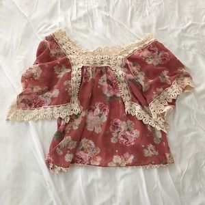 Anthropologie Pink Floral Blouse